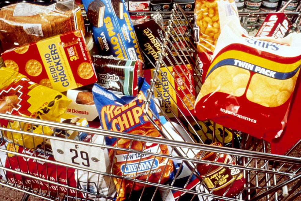 A trolley full of unhealthy food.