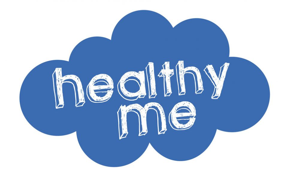 A blue cloud with he words healthy me in the middle. That's what my post is about - my physical health