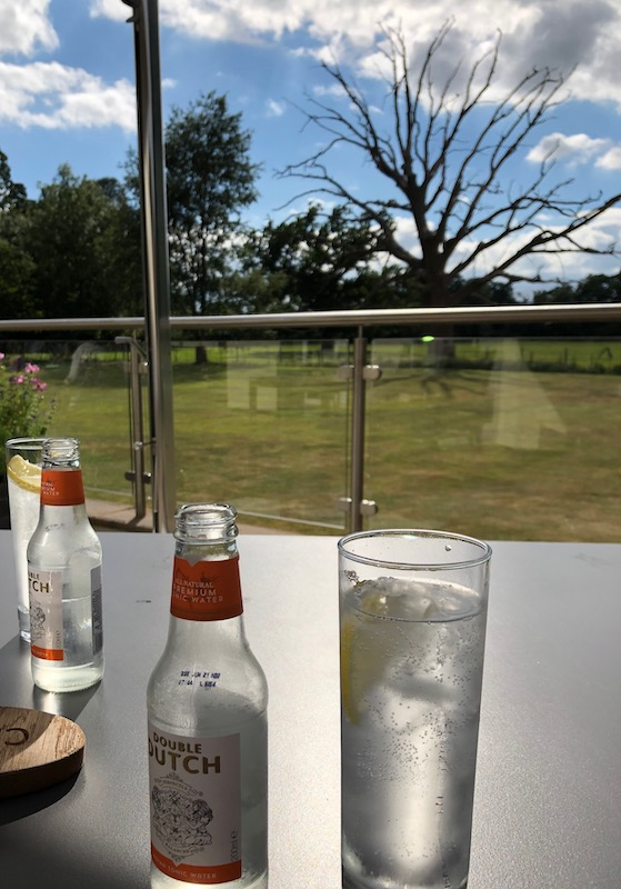Gin and tonics on a hotel table, with a view of the garden including trees and grass.